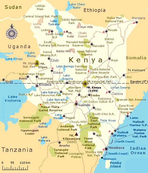 kenya tanzania tourist map