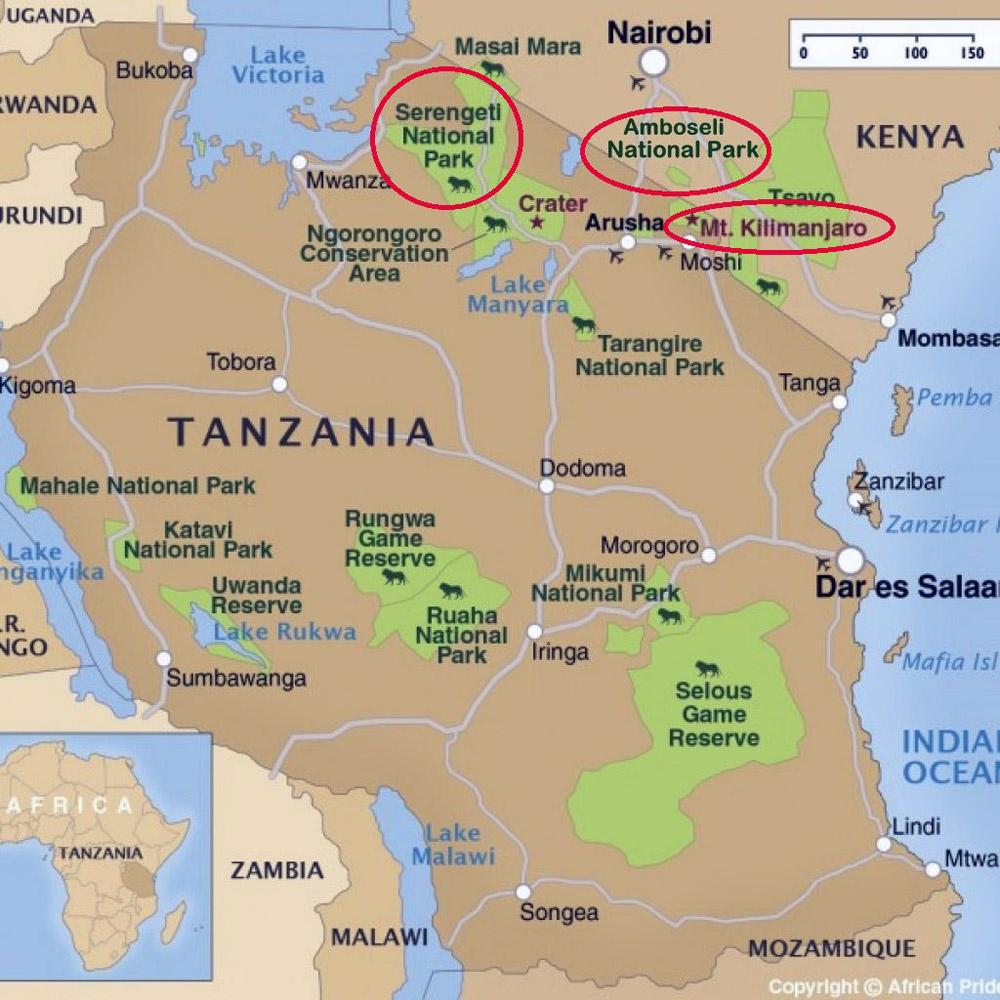 tanzania tourist map